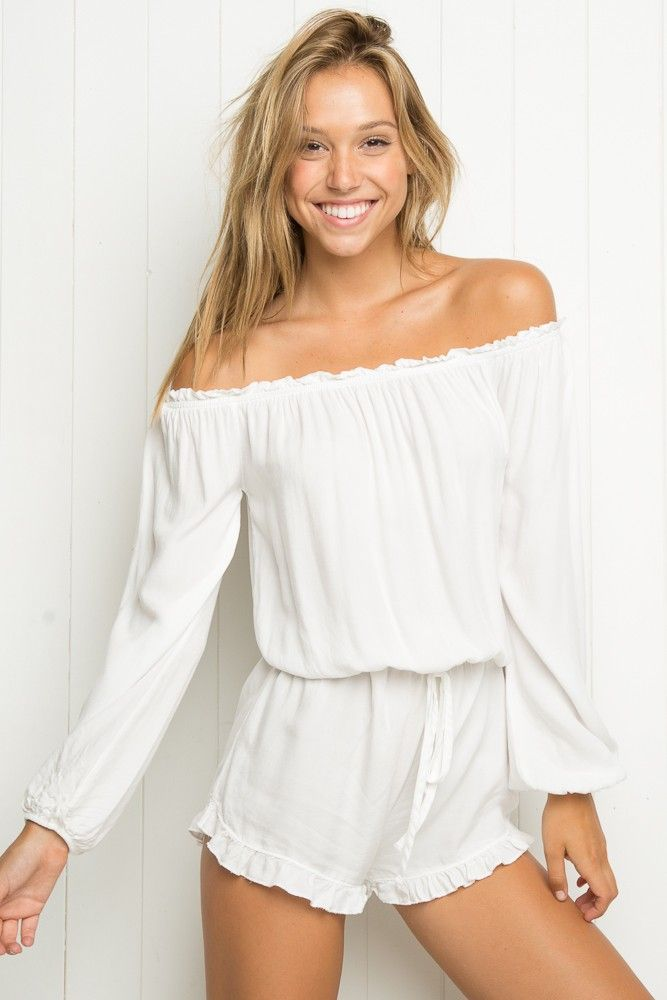Brandy Melville Gabriella Romper white // worn once // one size fits most  // Brandy Melville Pants Jumpsuits & Rompers