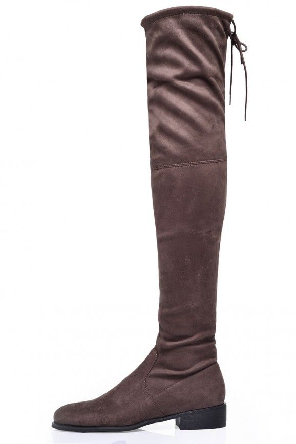 Elle Flat Over the Knee Boots in Taupe Suede