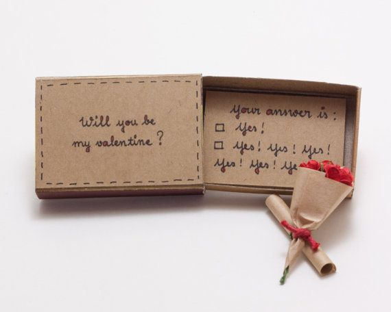 *Will NOT make it by Valentines Day with Standard Shipping. Please select Priority Shipping at check out if you wish to receive this by Feb 14* Funny Valentine Witty Valentines Day Proposal Card - Will You Be My Valentine? Comes with bouquet of rose. This listing is for one matchbox. This