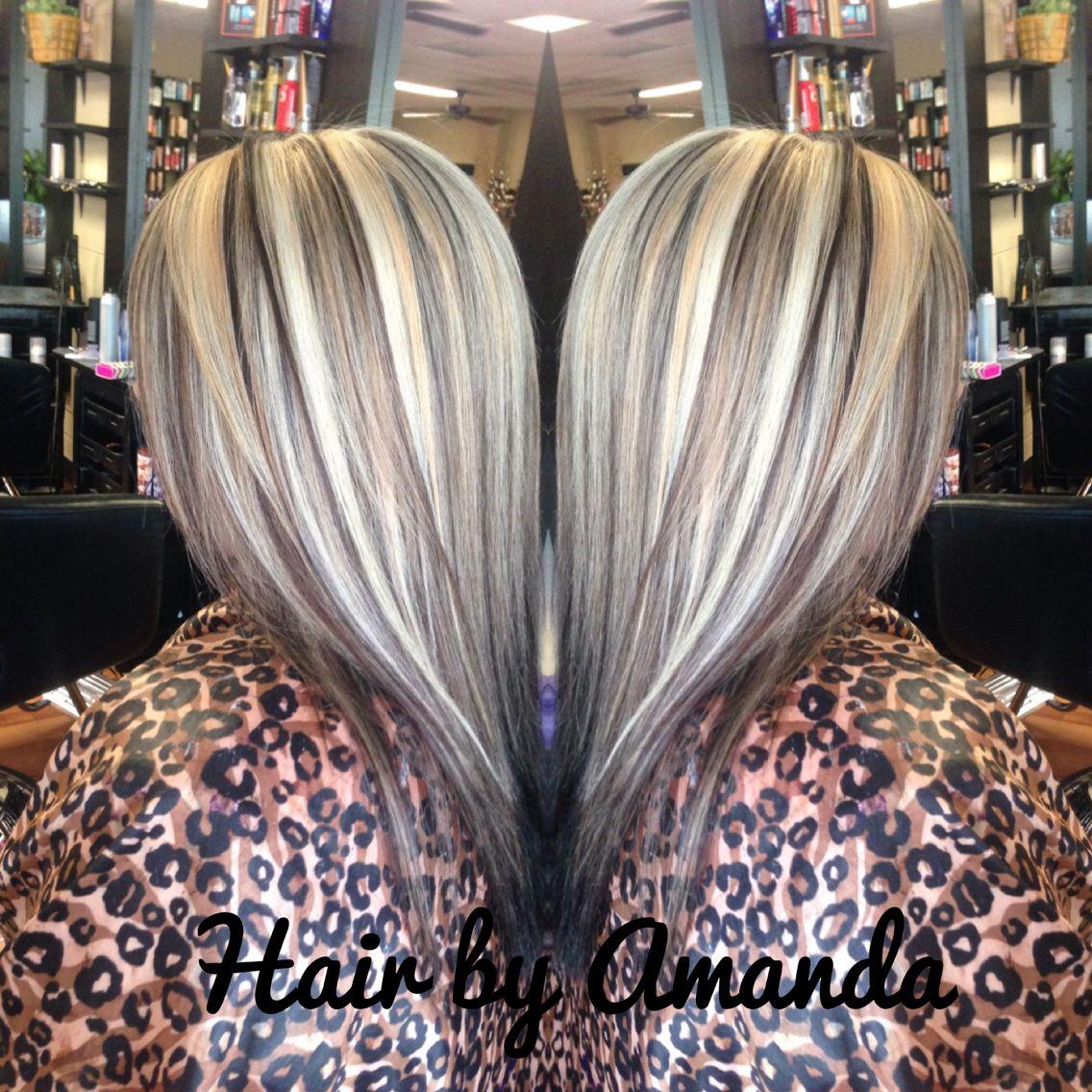 hair base with platinum highlights golden blonde base
