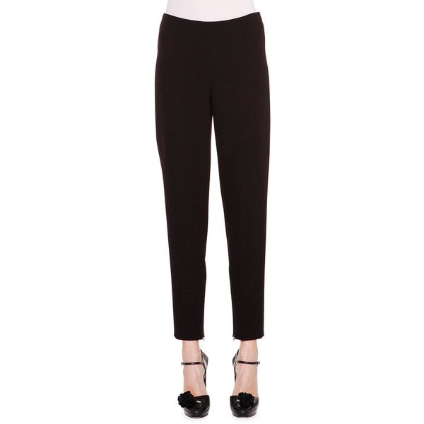 Giorgio Armani Stretch-Woven Ankle-Zip Pants ($925) ❤ liked on Polyvore featuring pants, black, straight pants, flat front side zip pants, stretchy pants, slim leg pants and giorgio armani