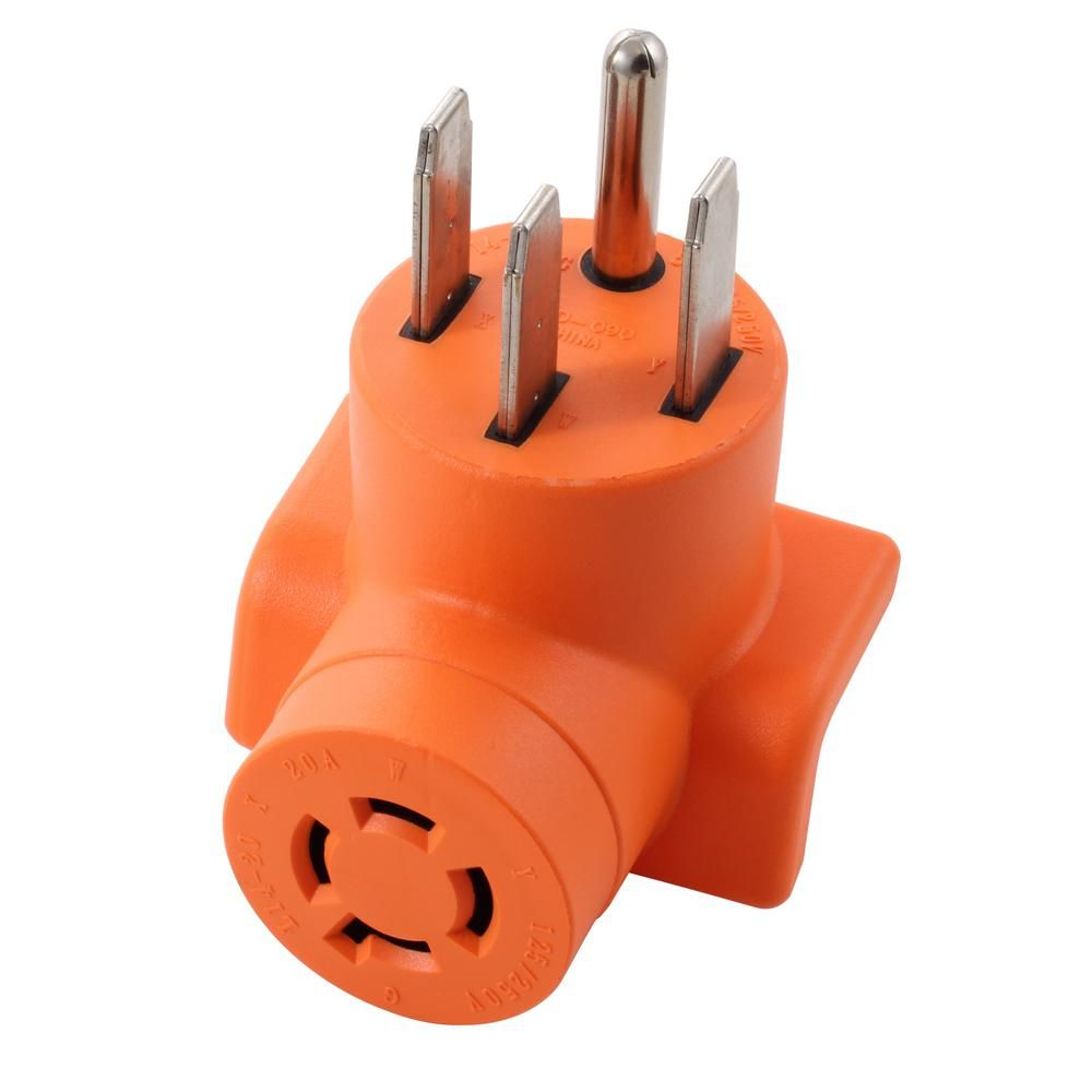Ac Works Range Rv Generator Outlet Adapter 4 Prong 14 50p Plug To 4 Prong 20 Amp Locking L14 20r Adapter Ad1450l1420 The Home Depot Outlet Adapter Adapter Plugs