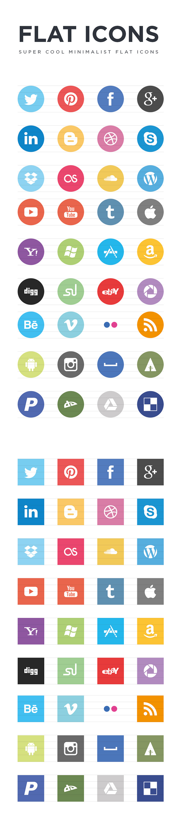 Free Flat Social Icons EPS Web design freebies, Web