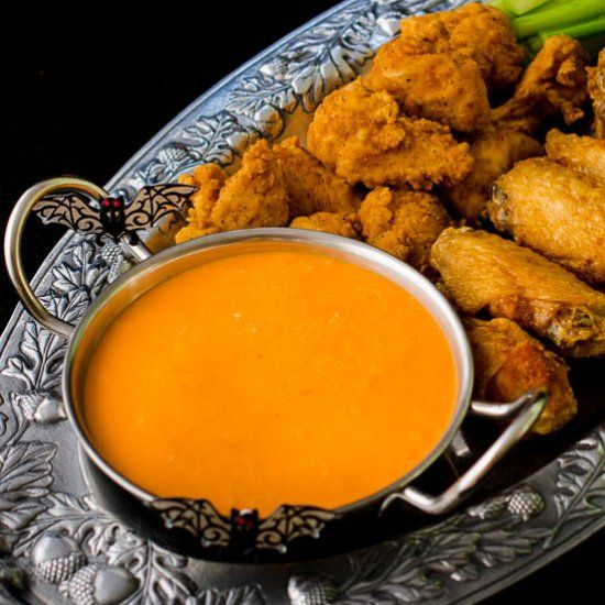 Make Devil's Wing Sauce for your Halloween celebration. It's great with chicken wings, tenders, and shrimp.