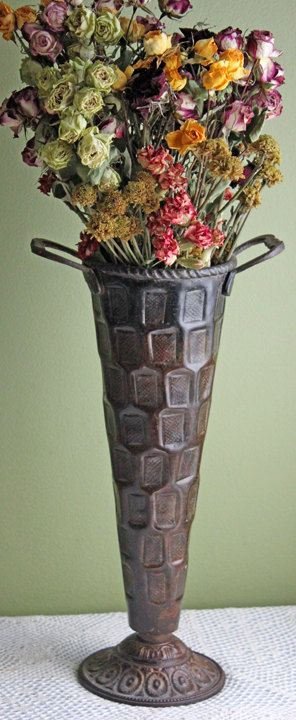 Vase Tall Metal Vase With Handles Vintage Rustic Metal Vase