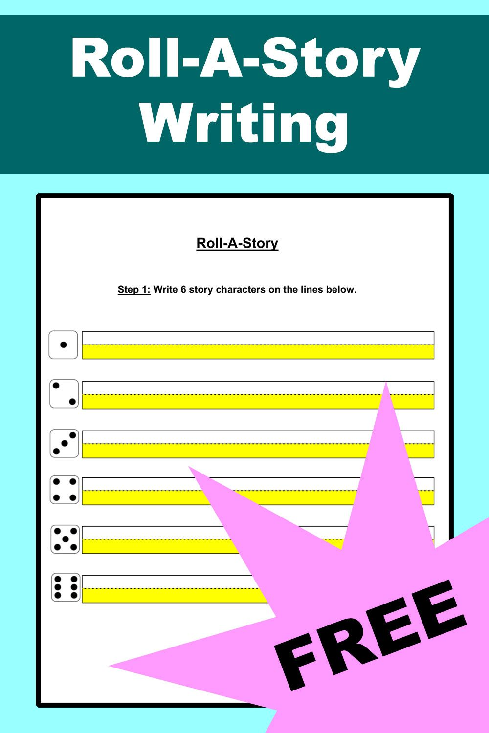 Roll A Story Writing Template Dice Game Roll A Story Writing Templates Story Writing [ 1500 x 1000 Pixel ]