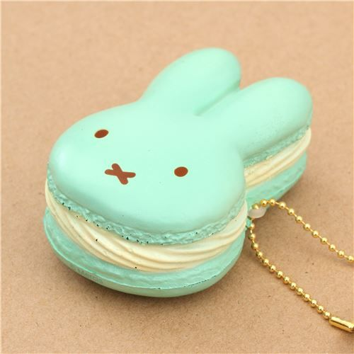 cute light green cream filling miffy bunny rabbit macaron squishy for backpack cute squishes. Black Bedroom Furniture Sets. Home Design Ideas