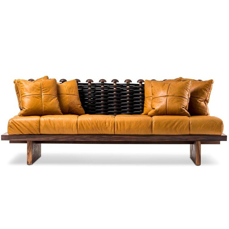 Outstanding Leather Walnut And Rope Shaker Sofa By Egg Designs In 2019 Machost Co Dining Chair Design Ideas Machostcouk