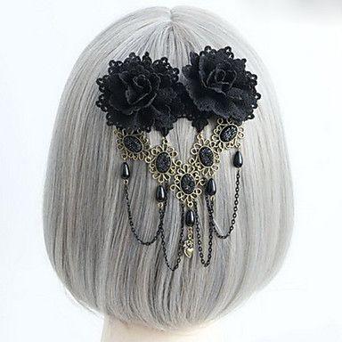Handmade Black Rose Gothic Lolita Headpiece with Beads Tassel – USD $ 7.99
