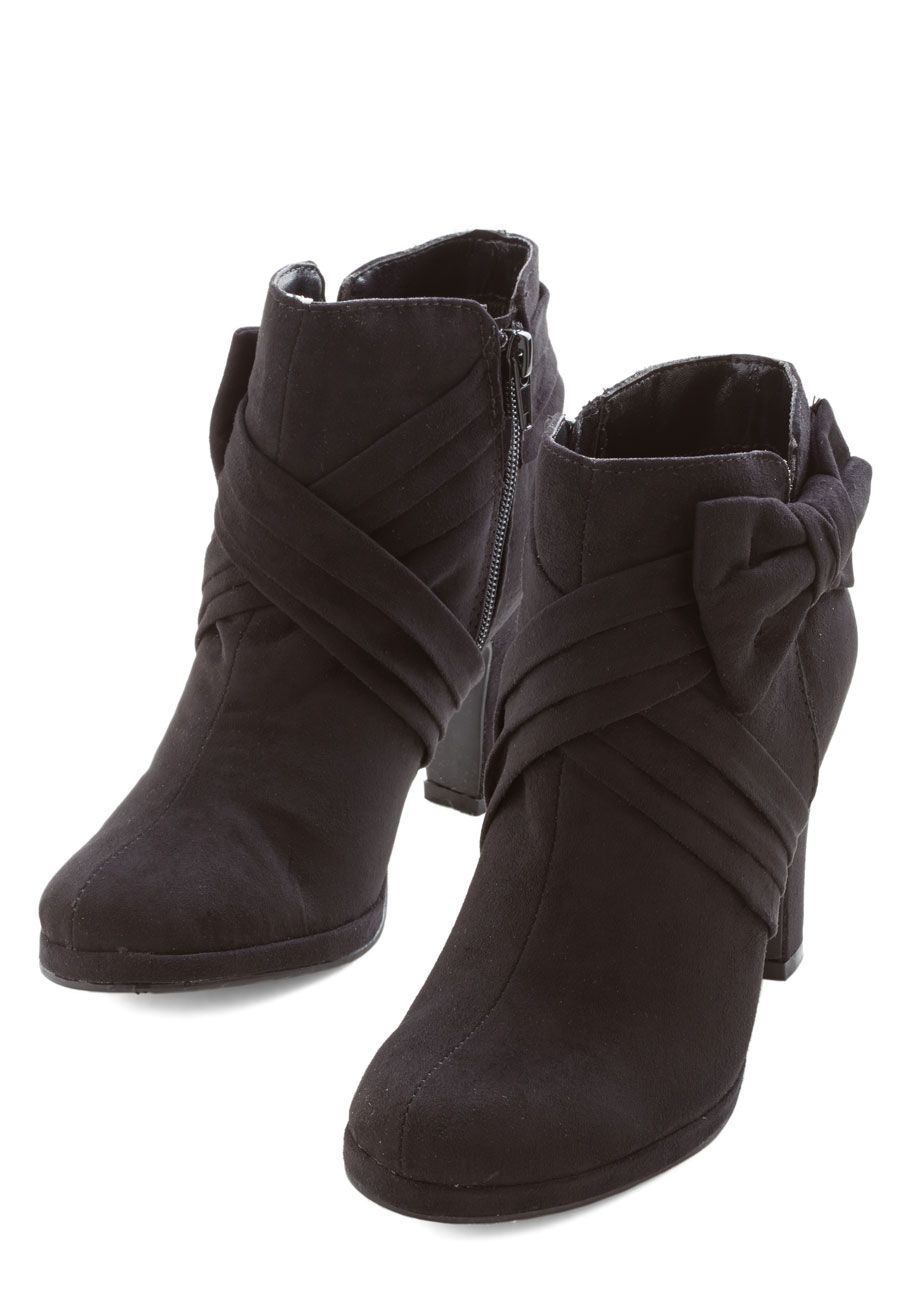 d52ad4a46c97 Strut the Strut Bootie in Black. With its beautiful bow and versatile hue