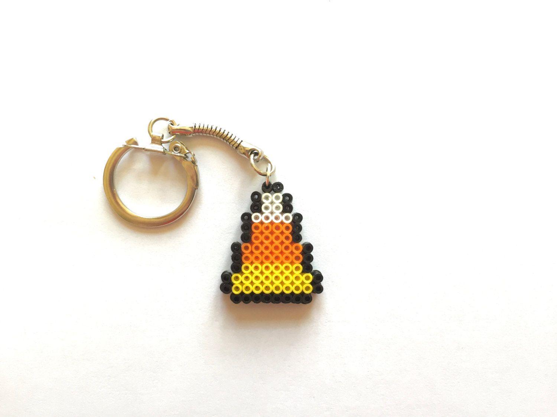 Halloween Candy Corn Perler Bead Keychain - Perler Bead, Halloween, 8-bit, Candy…