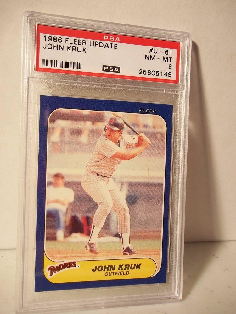 1986 fleer update john kruk rc psa graded nmmt 8 baseball