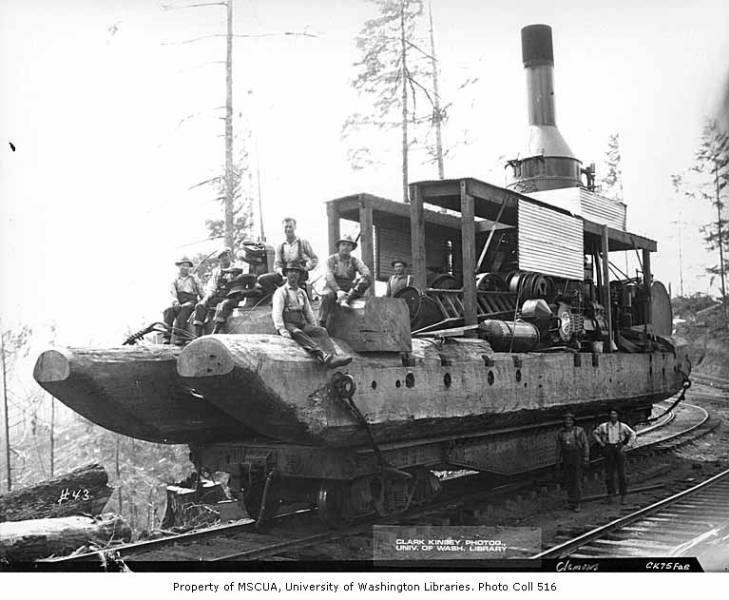Crew with donkey engine on railroad flatcar clemons