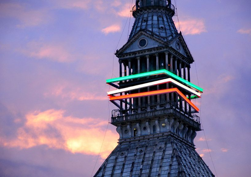 'torino + light + italian colours mole antonelliana lighting installation' by migliore + servetto architetti associati and italo lupi, turin, italy