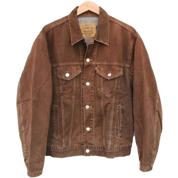 448a1103c Vintage LEVI S Denim Jacket Blanket Lined Brown Wash - M 22444 (20.005 CRC)  ❤ liked on Polyvore featuring home, bed & bath, bedding, blankets, jackets,  ...