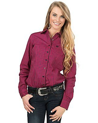 af225873fb92e9 Cinch Women's Hot Pink & Black Stripe Long Sleeve Western Shirt Barrel  Racing Outfits,
