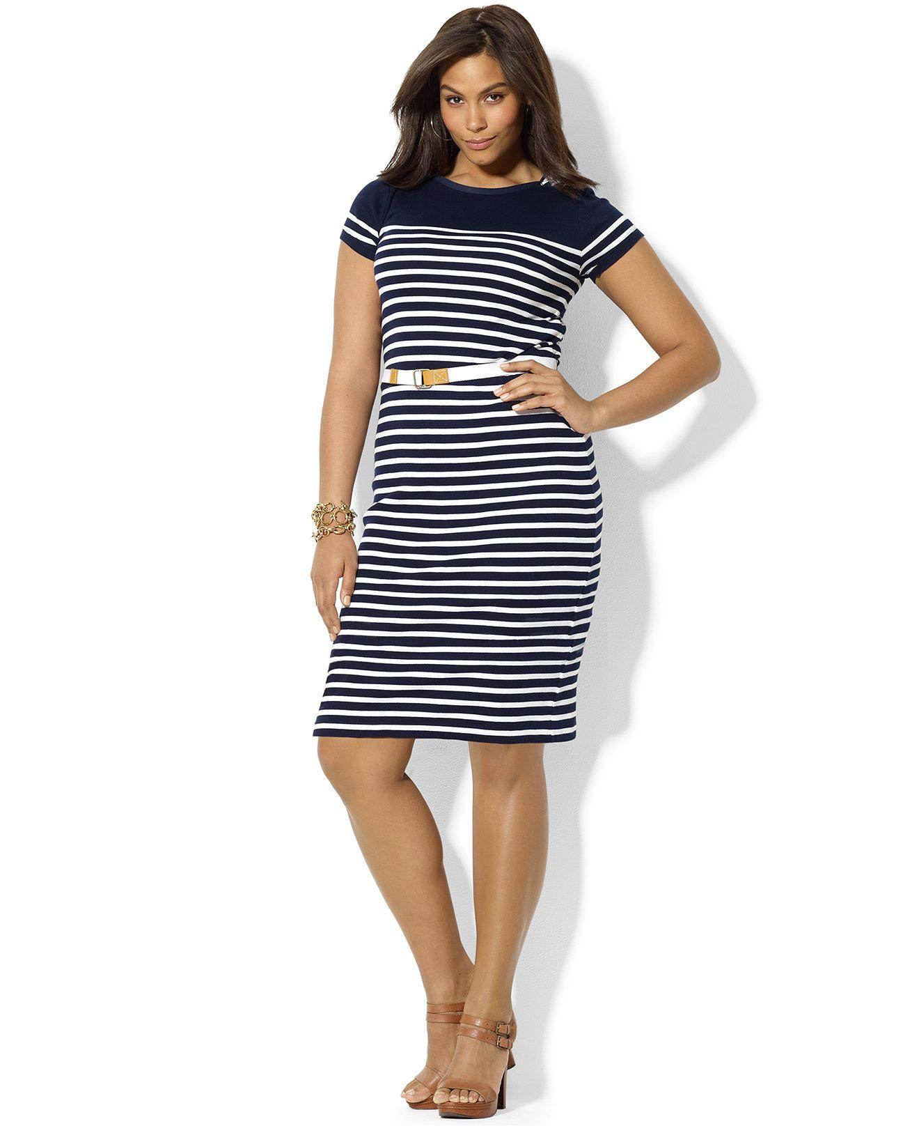 Lauren Ralph Lauren Plus Size Dress Short Sleeve Striped Boatneck