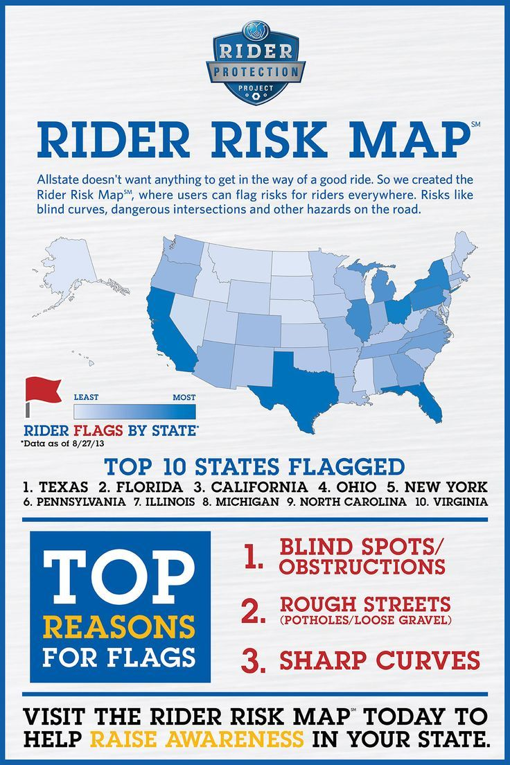 Which state is the riskiest for motorcycle riders? Check