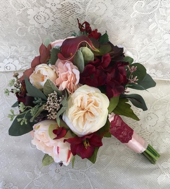 Wedding Bouquets Not Flowers: Wedding Bouquet,Bridal Bouquet,Burgundy And Blush Wedding