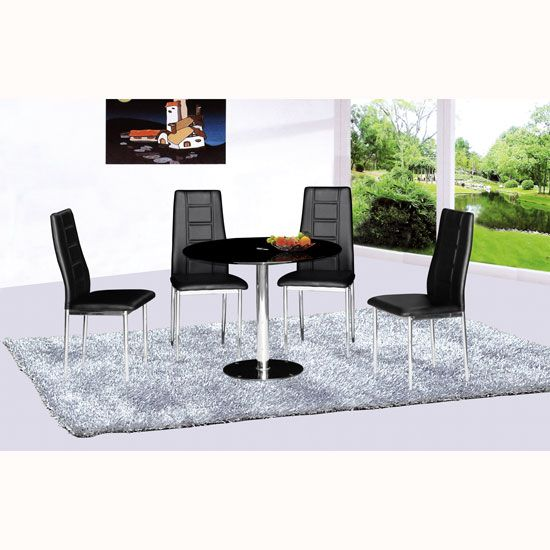 Parma Round Black Glass Dining Table With 4 Nova Chairs With
