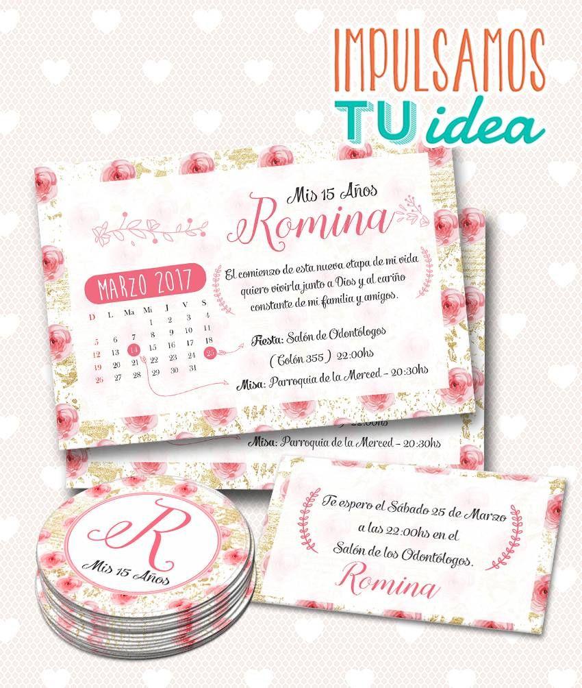 Invitación De 15 Con Personal Y Souvenir Imprimible