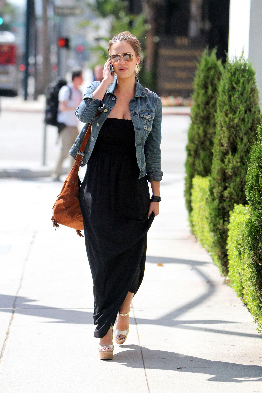 denim jacket over maxi dress | Gommap Blog