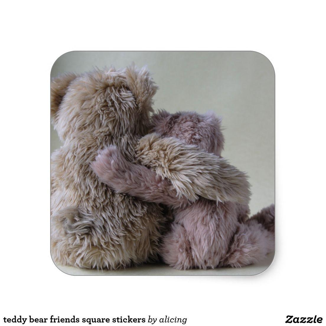 teddy bear friends square stickers