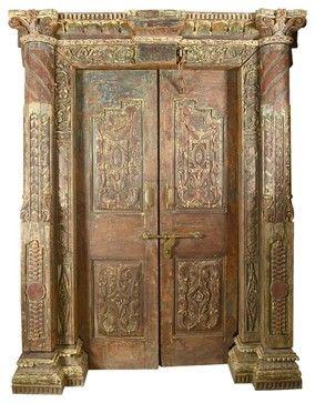 Royal Elizabethan Solid Teak Double Doors u0026 Frame traditional-interior-doors & Gothic Hand Carved Reclaimed Teak Wood Double Door u0026 Frame ... pezcame.com