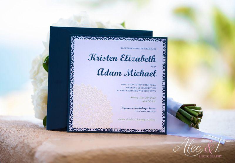Embossed Blue Panel Pocket Real DIY Wedding Invitation