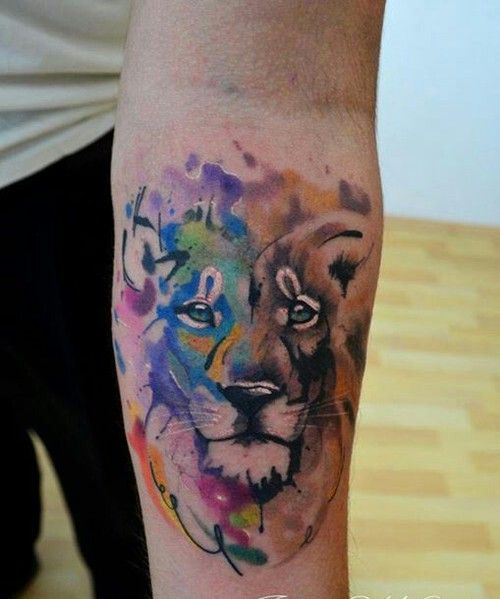 Most Popular Tags For This Image Include Lion Color Leon And Tattoo Watercolor Lion Tattoo Tattoos Colorful Lion Tattoo