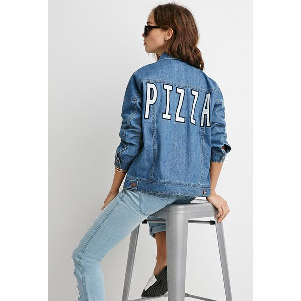Forever 21 Pizza Denim Jacket featuring polyvore, fashion, clothing, outerwear, jackets, cotton jean jacket, long sleeve denim jacket, forever 21, patch jacket and long sleeve jacket