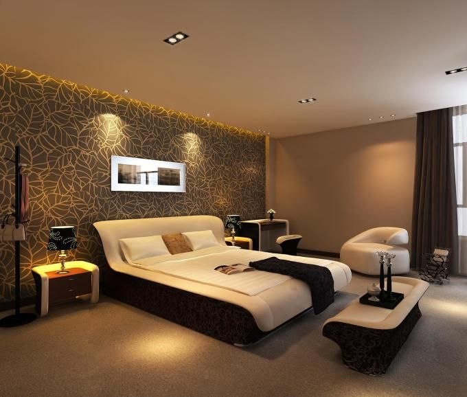 awesome-luxury-hotel-bedroom-with-leaves-gold-wallpaper-theme-also ...