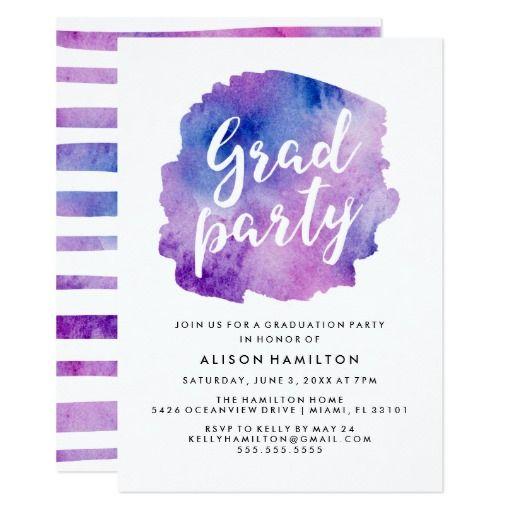 Purple Watercolor Graduation Party Card
