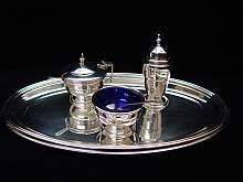 Silberset, Pfeffer,Salz,Senf,set of silver