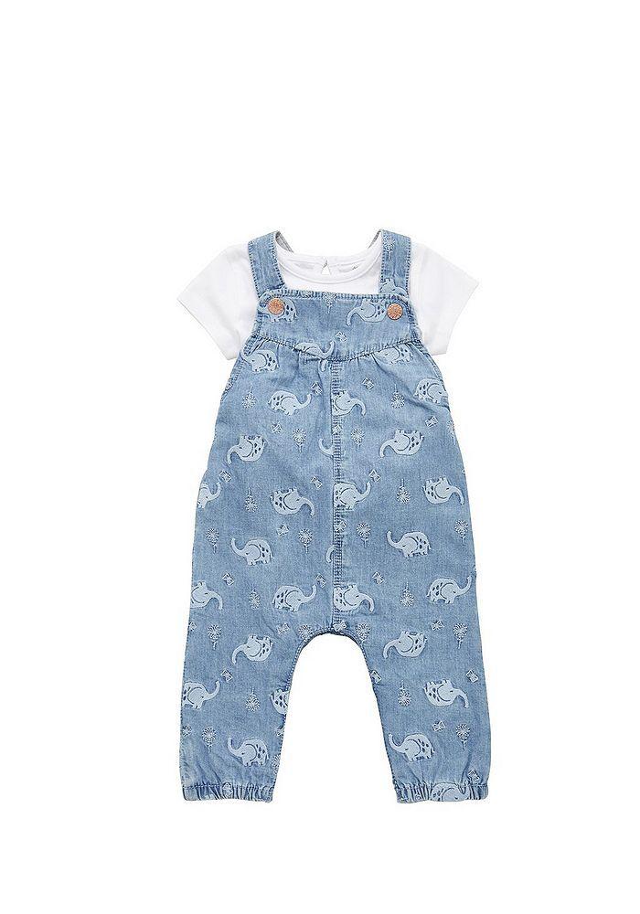 Girls Romper T-Shirt Outfit Denim Shorts Dungaree Set Newborn Baby to 3 Years