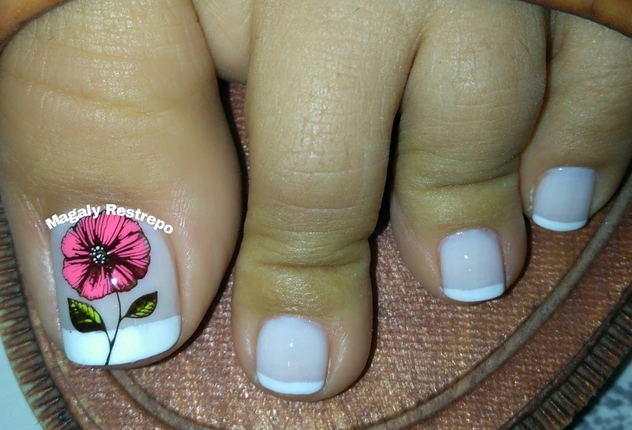 Flor💅🏼   Diseños de uñas pies, Manicura de uñas, Uñas de ...