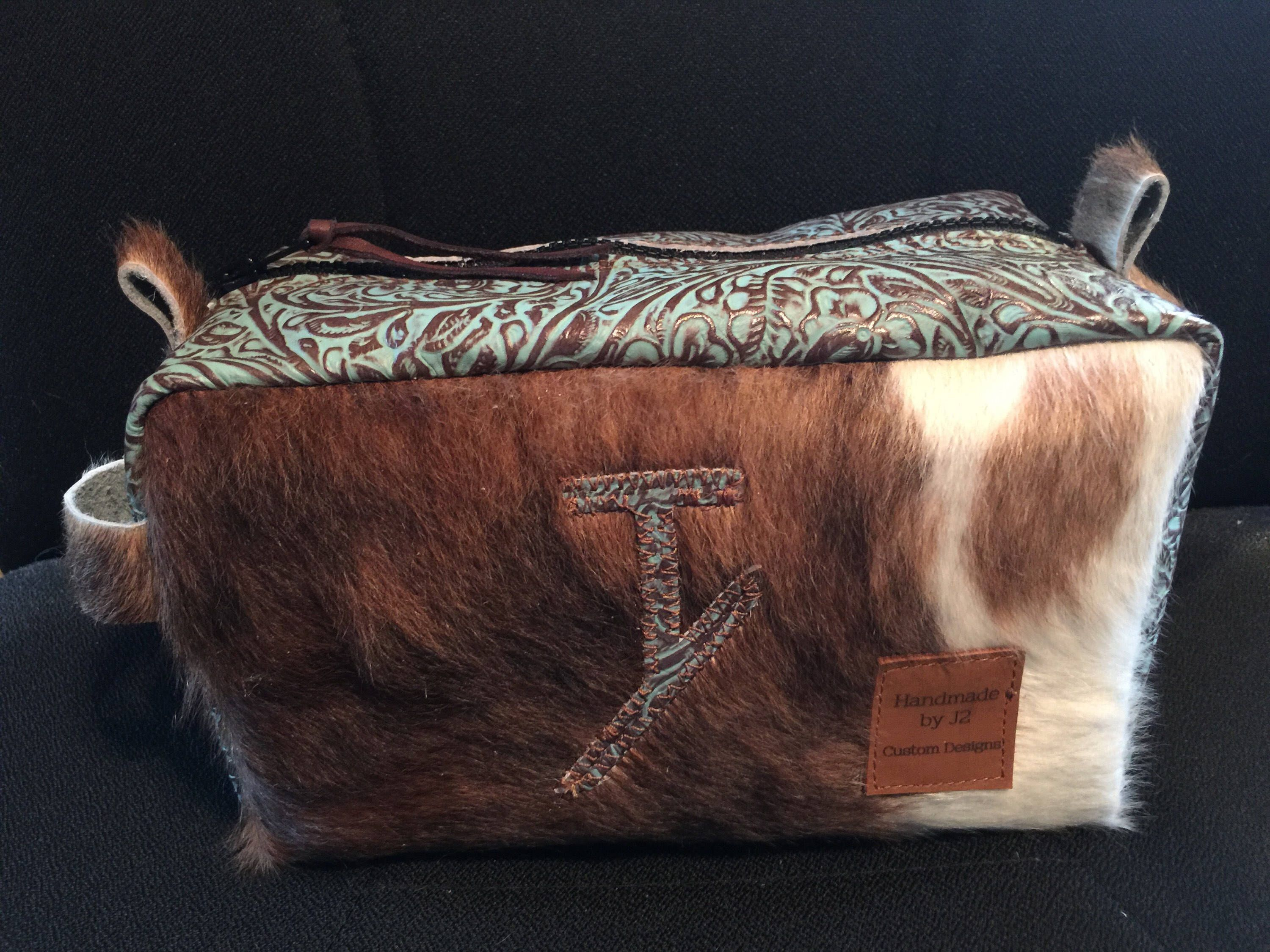 Cowhide and Leather Shaving or Makeup Bag FREE SHIPPING