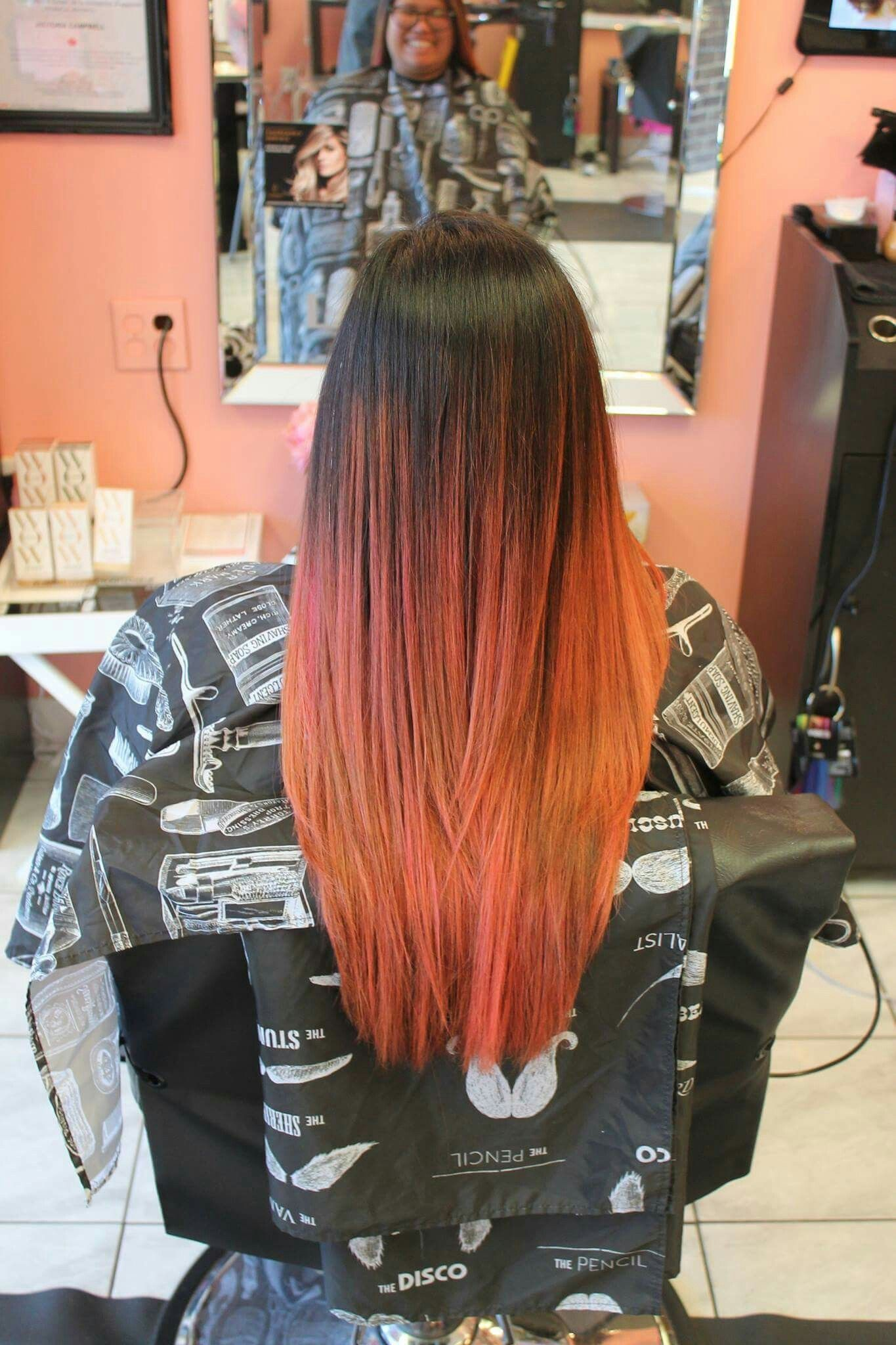 We did a #balayage technique then #toned with our #lanzavibesmagenta to create a #rosegold hue- Victoria #bboutiquesalon
