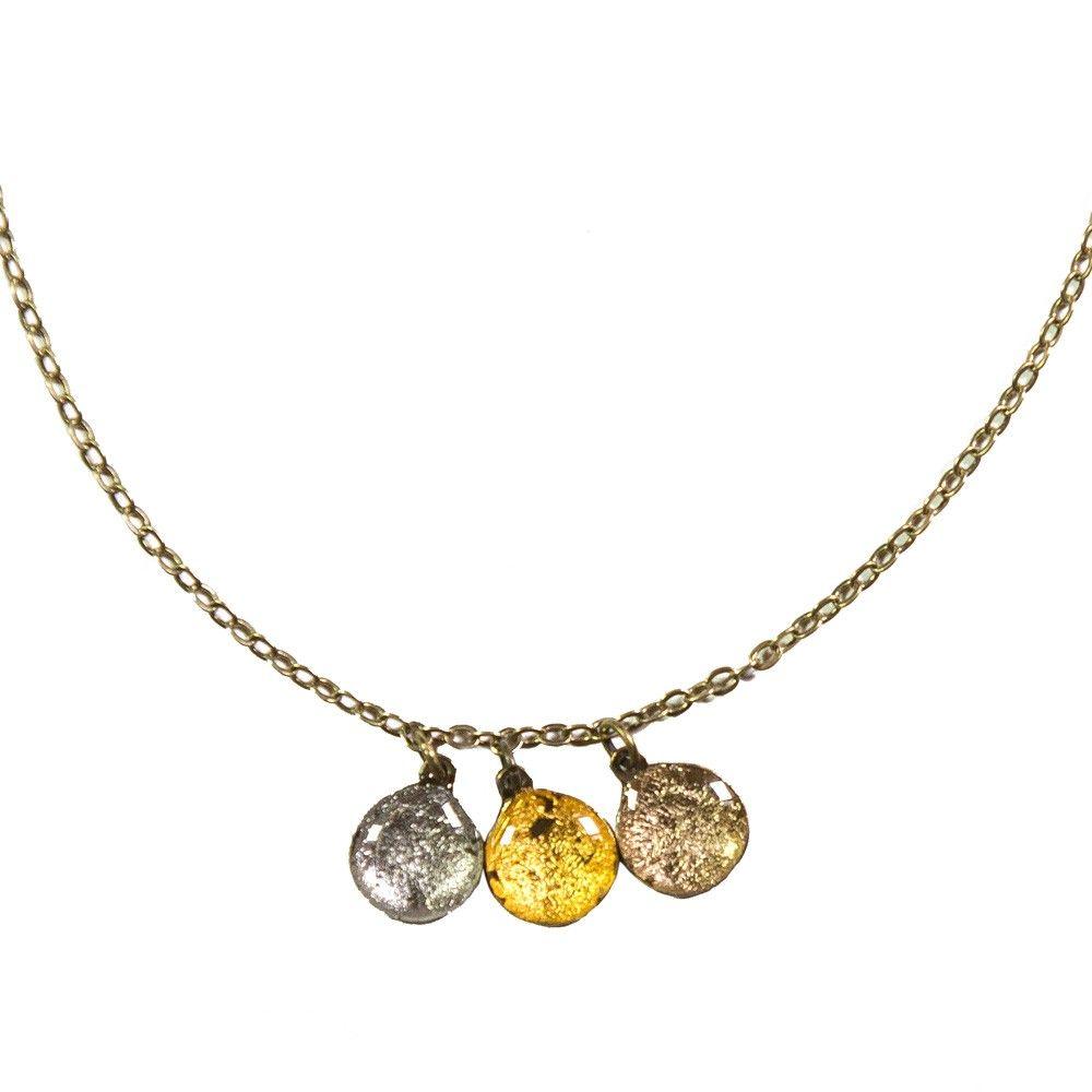 Rock around my neck | Kette mit Tropfenanhängern - Mondgold, Gelbgold & Silber