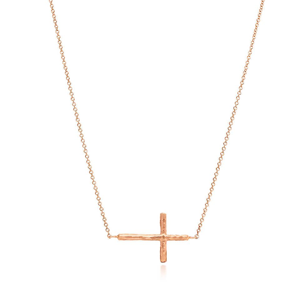 Paloma Picasso Hammered Cross Pendant In 18k Rose Gold Small Tiffany Co Cross Pendant Tiffany Co Paloma Picasso
