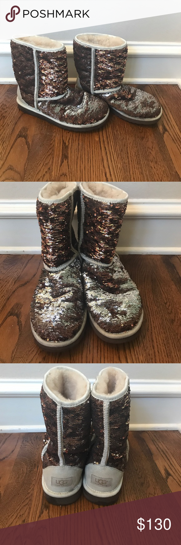 Ugg boots. *color changing* Barely work ugg boots. Covered in sequins that change colors between silver and brown. Soles are in great condition as well as ...