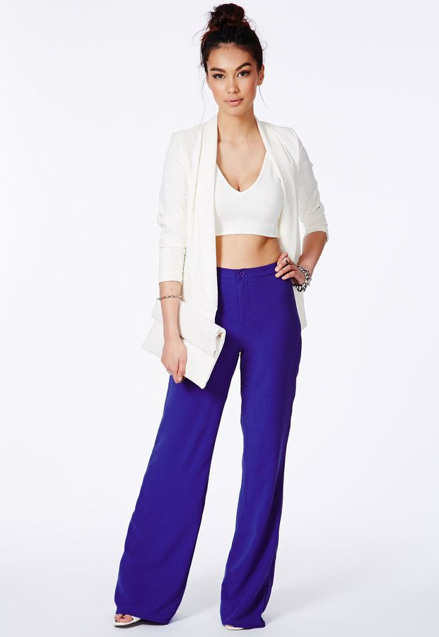 99f59127f653 Missguided Cobalt Blue High Waisted Palazzo Trousers on shopstyle.co.uk  Wide Leg Palazzo