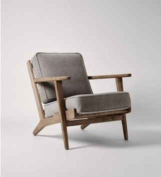Swoon Editions Armchairs. Grey Wool Upholstery On Danish Wood Design.