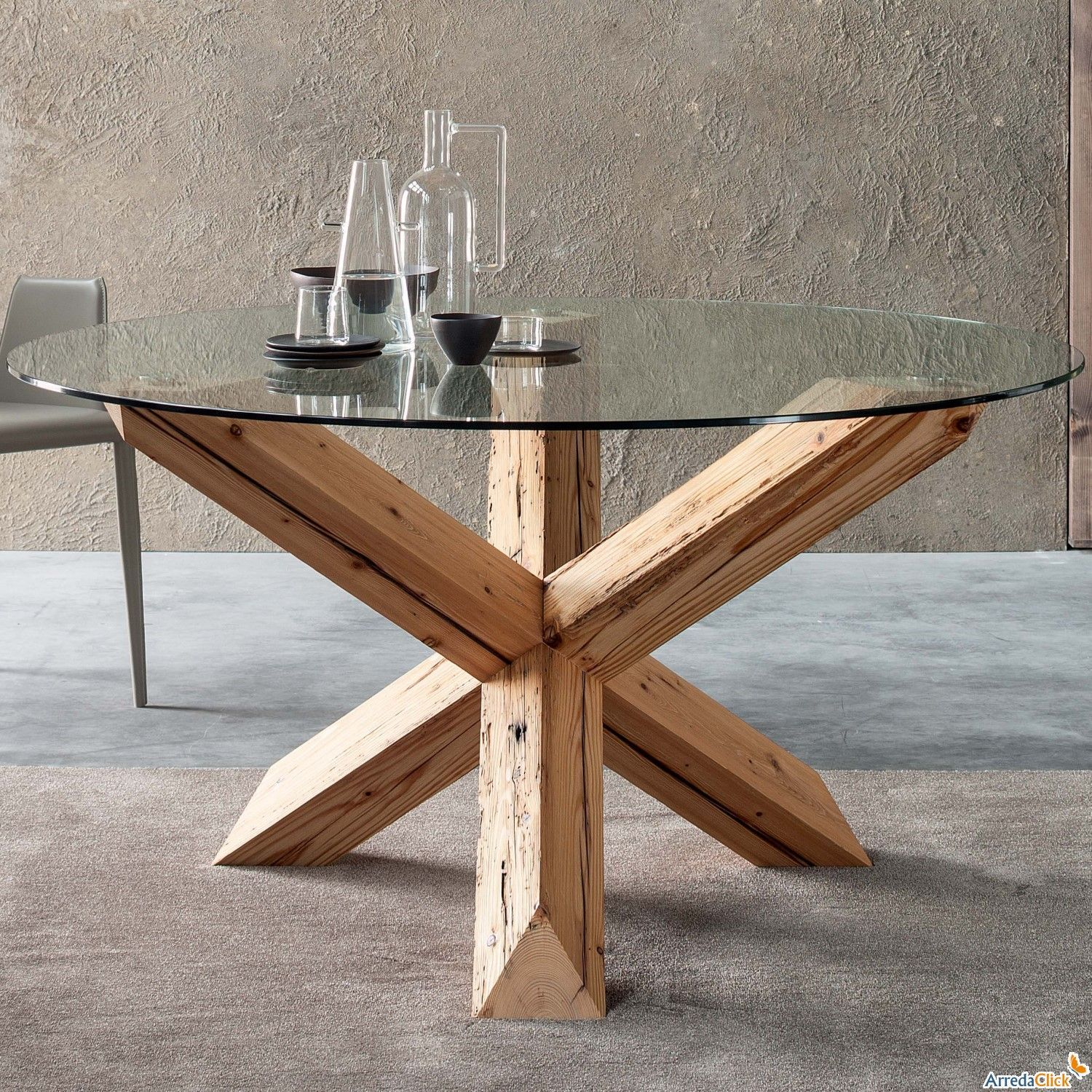 Asterisk based mesa reclaimed wood arredaclick let 39 s for Table style usine
