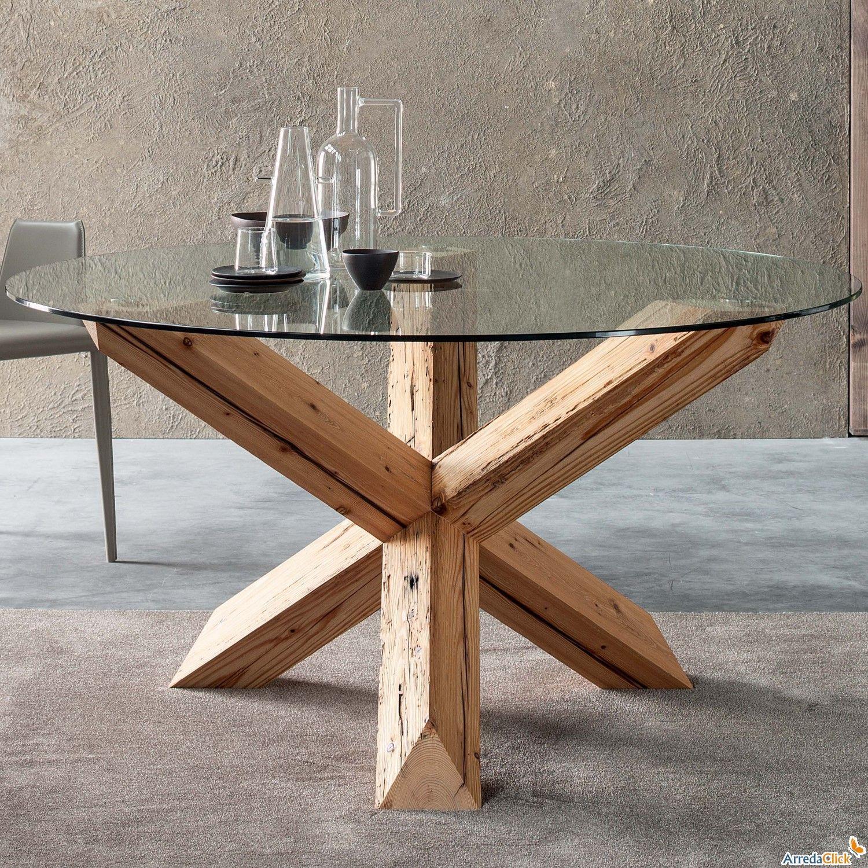 Table Avec Base Centrale En Bois Asterisk Arredaclick Mesas De Vidrio Comedor Mesas De Comedor Sillas Comedor Madera