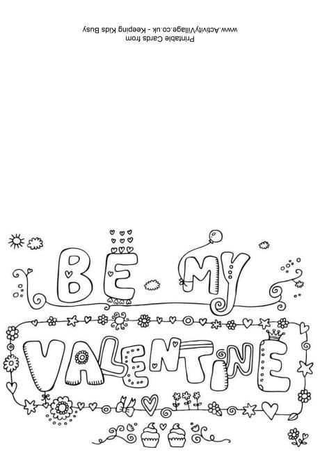 Be My Valentine colouring card | Festivales | Pinterest ...