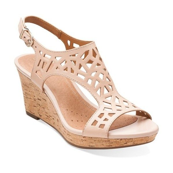 Women's Clarks 'Palmdale Sands' Wedge Sandal (1 780 UAH) ❤ liked on Polyvore featuring shoes, sandals, nude leather, clarks shoes, leather slingback sandals, clarks sandals, leather sandals and wedge sandals