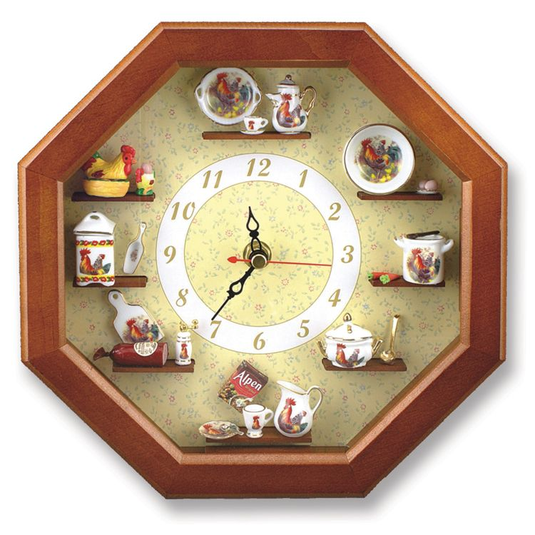 Rooster Decor Working Wall Clock Country Kitchen Clock