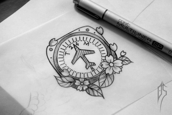 Compass Tattoo Line Drawing : Plane compass tattoo sketch custom antalya