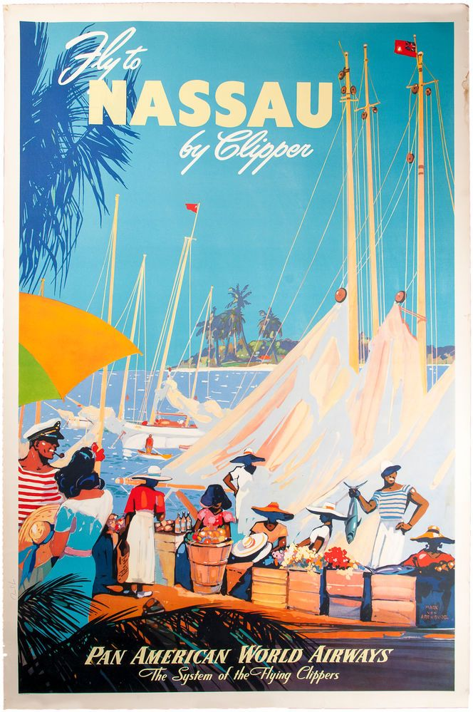 Fly to Nassaue by Clipper, Travel Poster Travel posters